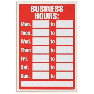 Image for HEADLINE SIGN BUSINESS HOURS 203 X 305MM RED/WHITE from ONET B2C Store