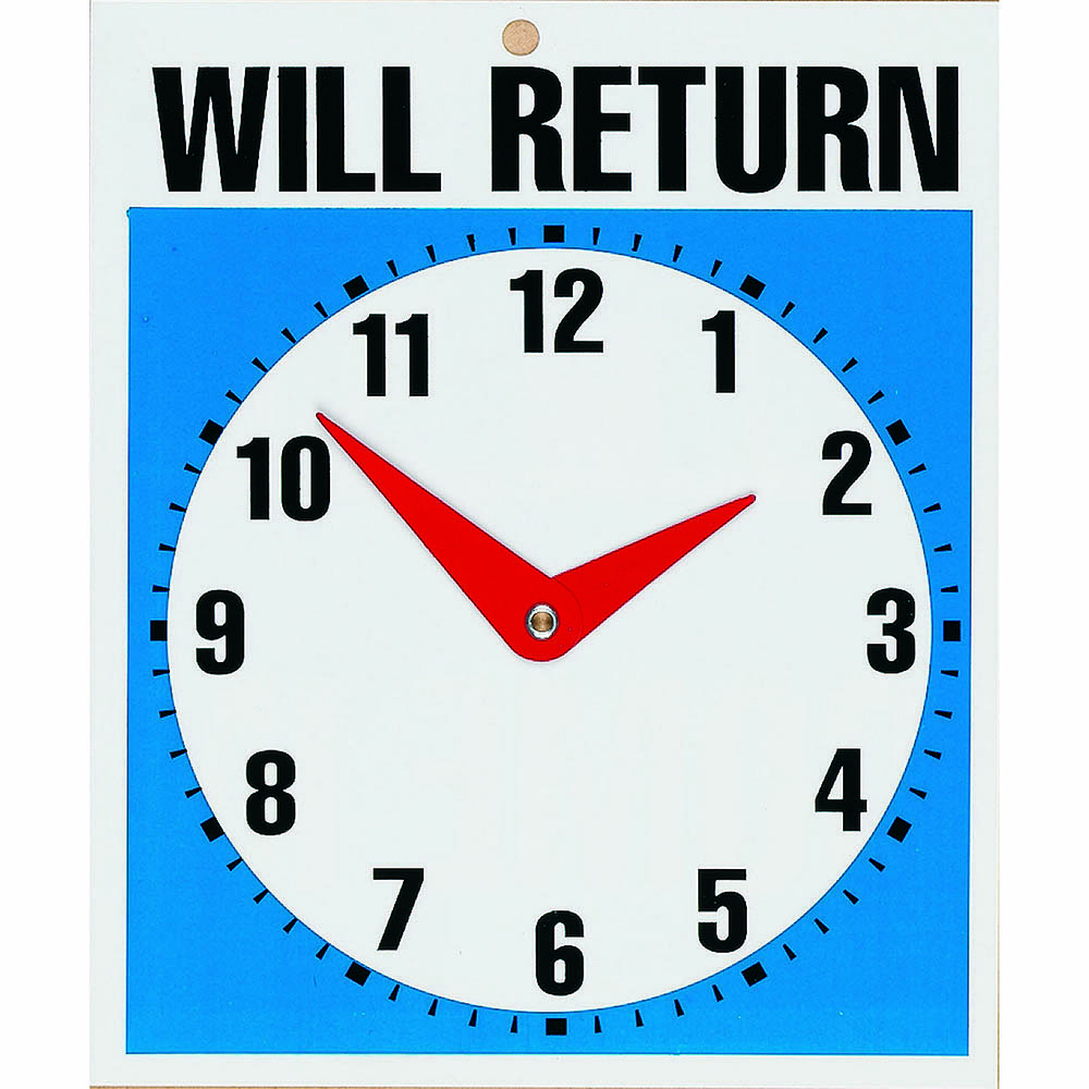 Image for HEADLINE SIGN WILL RETURN CLOCK 190 X 230MM from ONET B2C Store