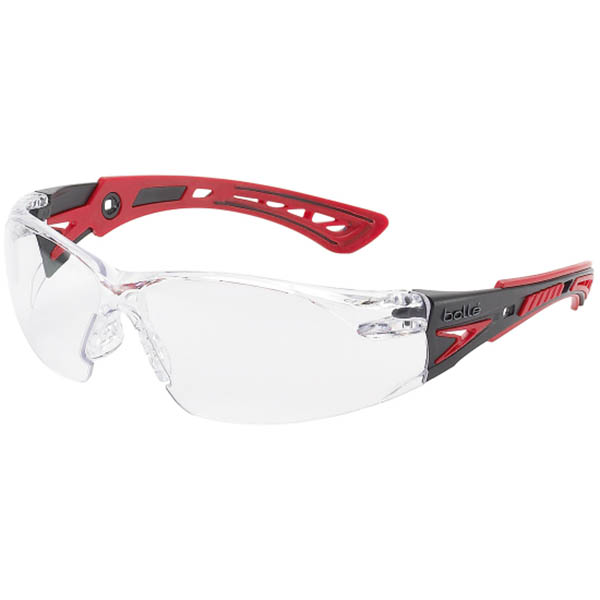 Image for BOLLE SAFETY RUSH PLUS SAFETY GLASSES RED AND BLACK ARMS CLEAR LENS from ONET B2C Store