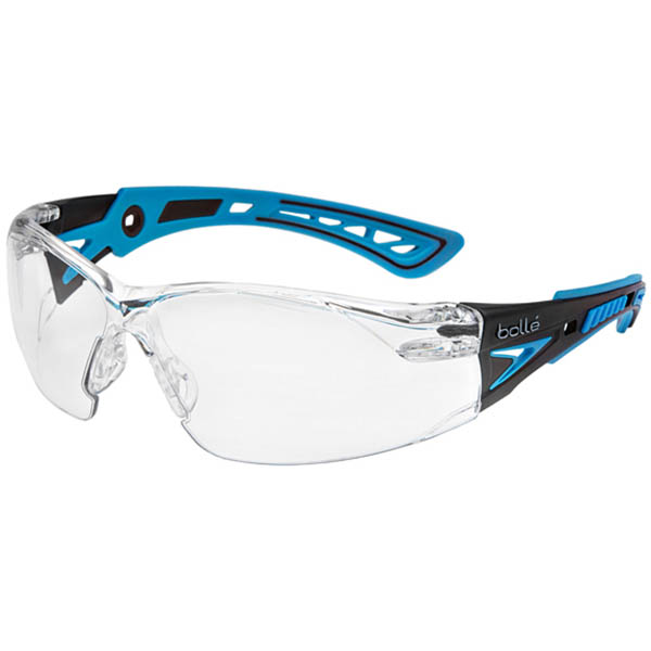 Image for BOLLE SAFETY RUSH PLUS SMALL SAFETY GLASSES BLUE AND BLACK ARMS CLEAR LENS from ONET B2C Store