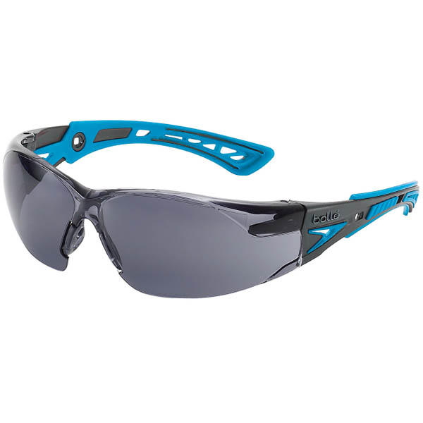 Image for BOLLE SAFETY RUSH PLUS SMALL SAFETY GLASSES BLUE AND BLACK ARMS SMOKE LENS from ONET B2C Store
