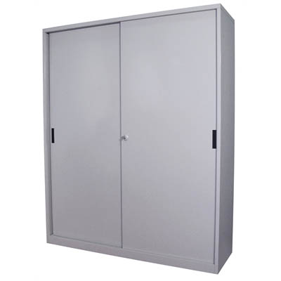 Image for STEELCO SLIDING DOOR CABINET 3 SHELVES 1830 X 1500 X 465MM SILVER GREY from Clipboard Stationers & Art Supplies