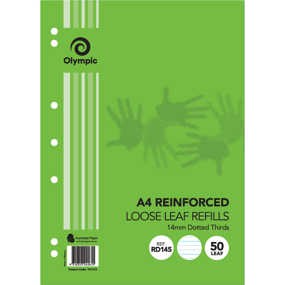 Image for OLYMPIC REINFORCED A4 LOOSE REFILL 14MM DOTTED THIRDS 55GSM 50 SHEETS from Mitronics Corporation