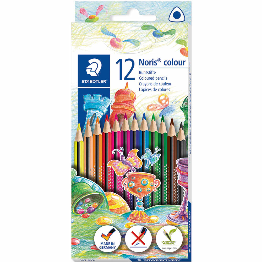 Image for STAEDTLER 187 NORIS COLOUR TRIANGULAR COLOURING PENCILS ASSORTED BOX 12 from BusinessWorld Computer & Stationery Warehouse