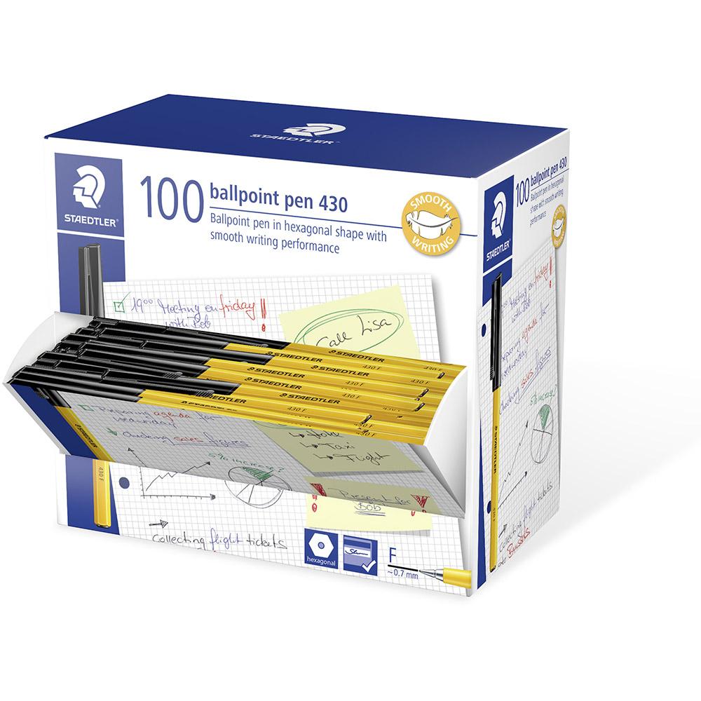 Image for STAEDTLER 430 STICK BALLPOINT PEN FINE BLACK BOX 100 from BusinessWorld Computer & Stationery Warehouse