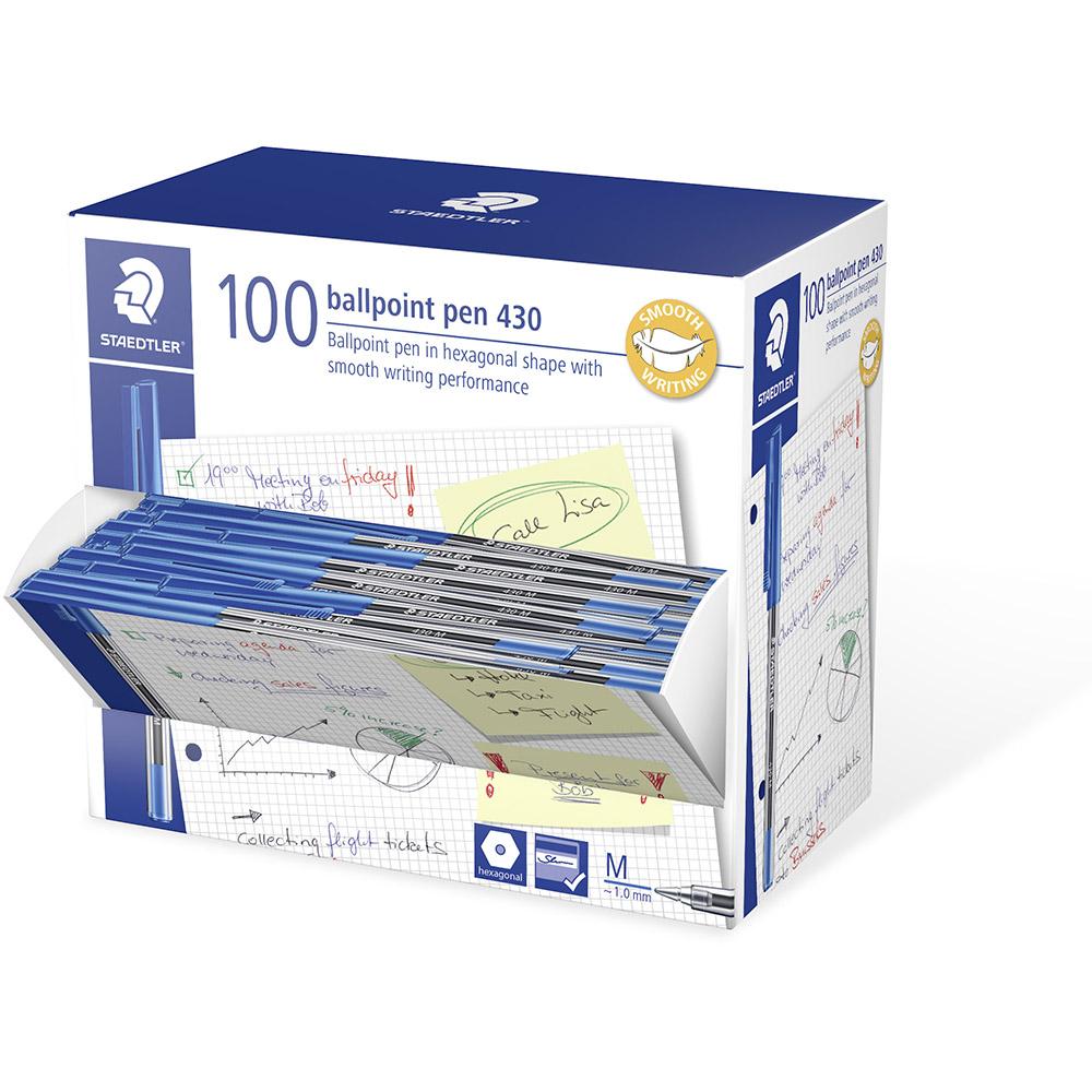 Image for STAEDTLER 430 STICK BALLPOINT PEN MEDIUM BLUE BOX 100 from BusinessWorld Computer & Stationery Warehouse