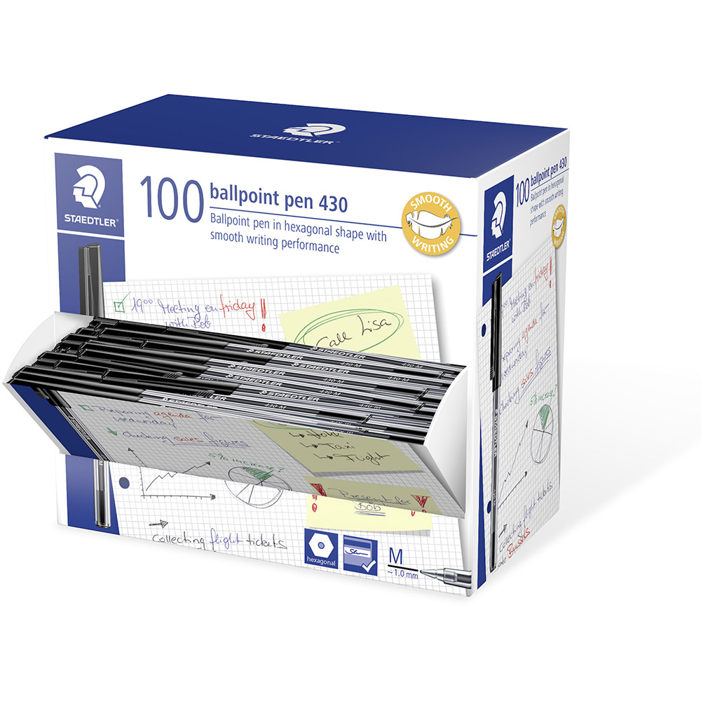Image for STAEDTLER 430 STICK BALLPOINT PEN MEDIUM BLACK BOX 100 from BusinessWorld Computer & Stationery Warehouse
