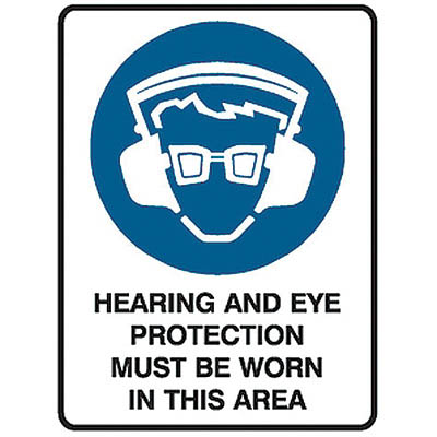 Image for TRAFALGAR MANDATORY SIGN HEARING AND EYE PROTECTION 450 X 600MM from ONET B2C Store
