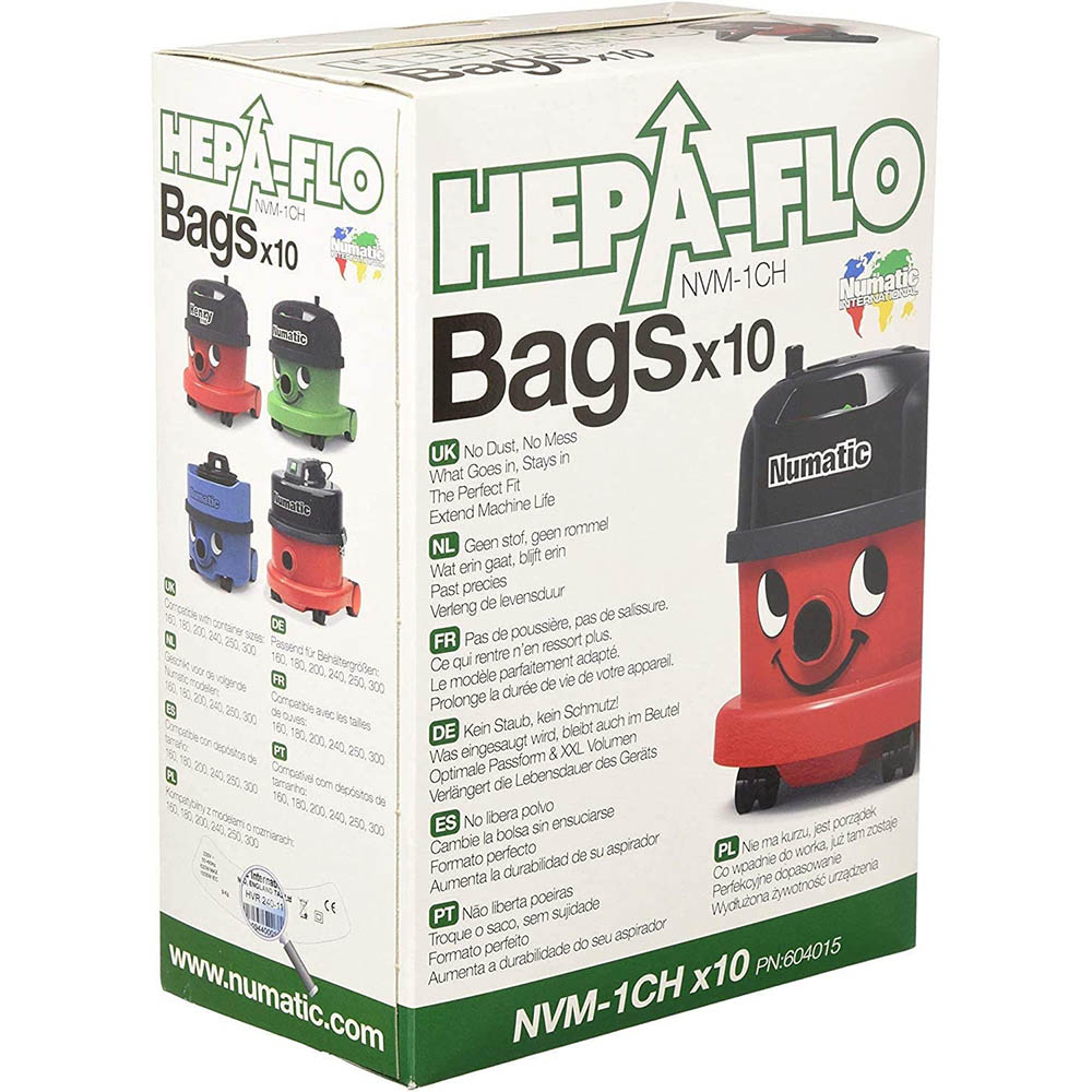 Image for NUMATIC HEPA-FLO VACCUM DUST BAGS PACK 10 from ONET B2C Store