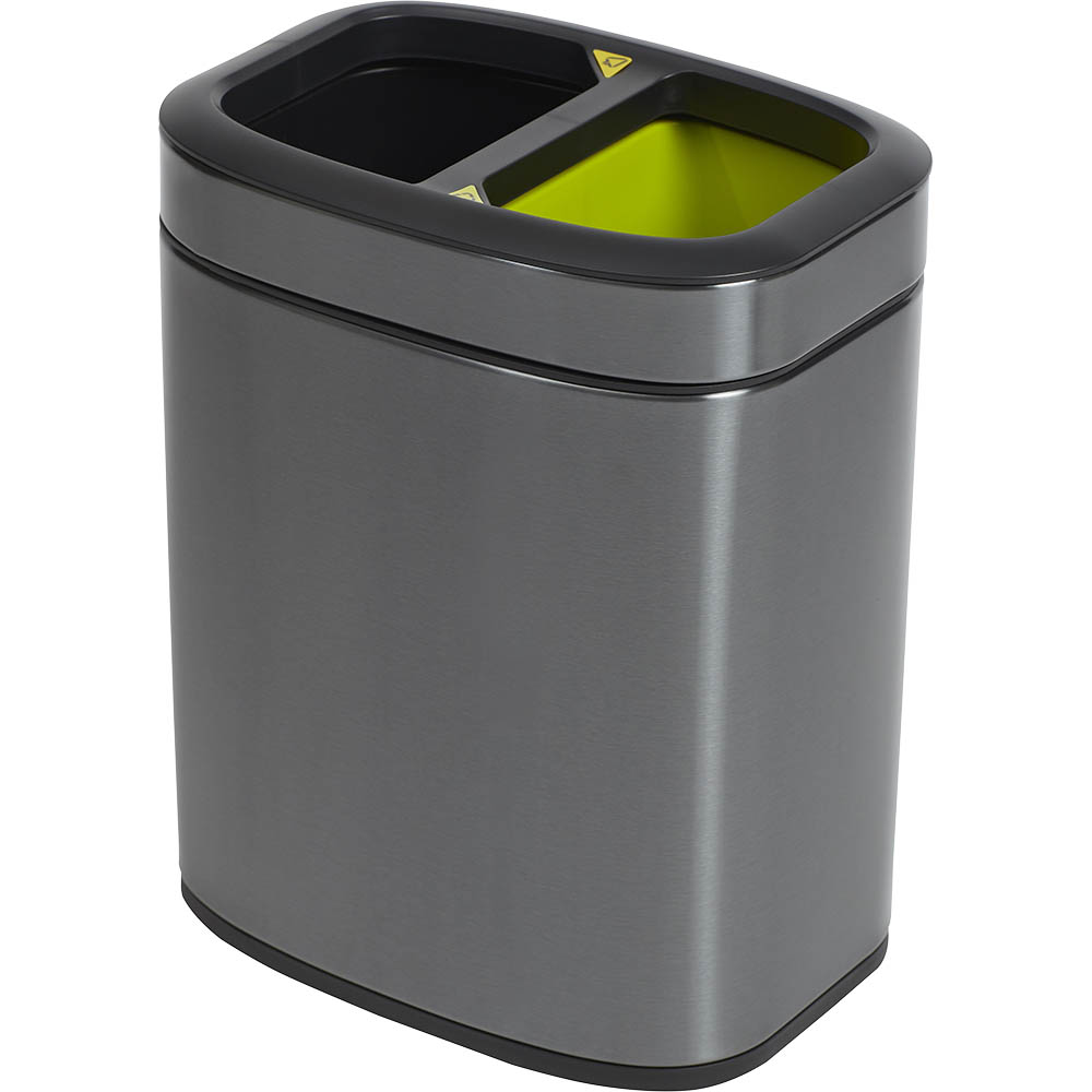 Image for COMPASS RECYCLING BIN RECTANGULAR TITANIUM 10L from ONET B2C Store