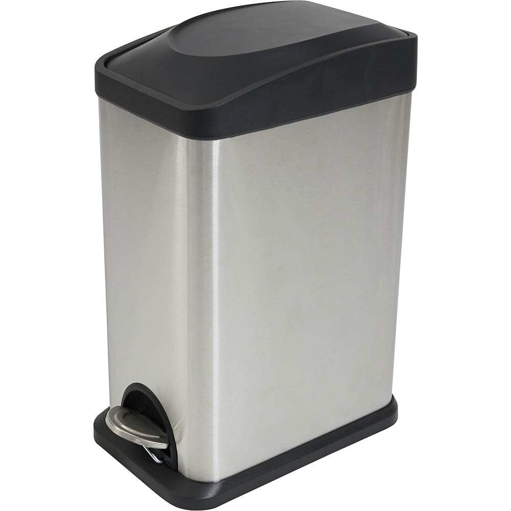 Image for COMPASS PEDAL BIN RECTANGULAR STAINLESS STEEL 15L from ONET B2C Store