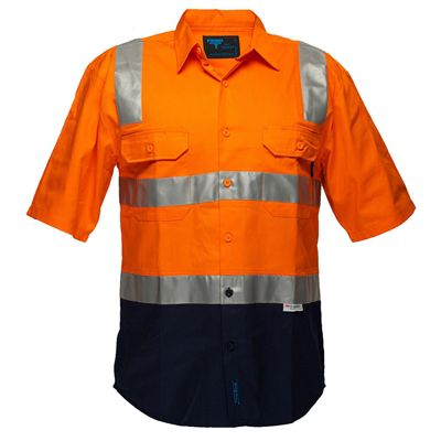 Image for PRIME MOVER MS102 HI VIS DRILL SHIRT SHORT SLEEVE WITH TAPE OVER SHOULDER 2 TONE from BusinessWorld Computer & Stationery Warehouse