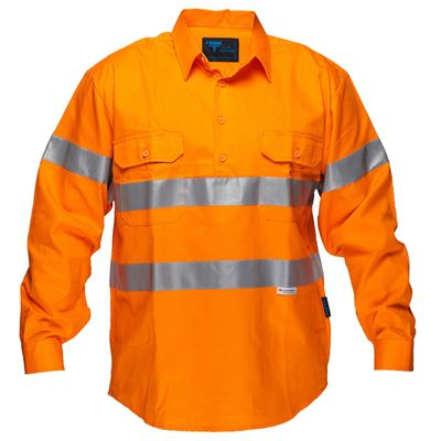 Image for PRIME MOVER MC191 HI VIS DRILL SHIRT LONG SLEEVE CLOSED FRONT WITH TAPE FULL COLOUR from BusinessWorld Computer & Stationery Warehouse