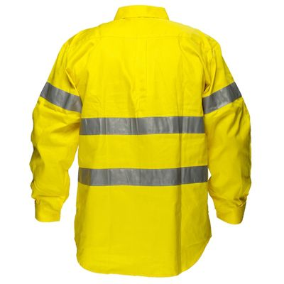 Image for PRIME MOVER MA191 HI VIS COTTON DRILL SHIRT LONG SLEEVE WITH TAPE FULL COLOUR from BusinessWorld Computer & Stationery Warehouse