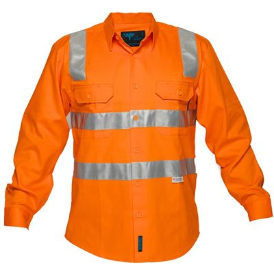 Image for PRIME MOVER MS191 HI VIS COTTON DRILL SHIRT LONG SLEEVE WITH TAPE OVER SHOULDER FULL COLOUR from BusinessWorld Computer & Stationery Warehouse