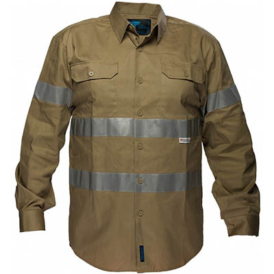 Image for PRIME MOVER MA908 COTTON DRILL SHIRT LONG SLEEVE WITH TAPE from BusinessWorld Computer & Stationery Warehouse