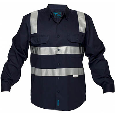 Image for PRIME MOVER MS908 COTTON DRILL SHIRT LONG SLEEVE WITH TAPE OVER SHOULDER from BusinessWorld Computer & Stationery Warehouse