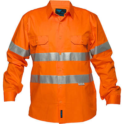 Image for PRIME MOVER MA301 HI-VIS LIGHTWEIGHT COTTON DRILL SHIRT LONG SLEEVE WITH TAPE from BusinessWorld Computer & Stationery Warehouse