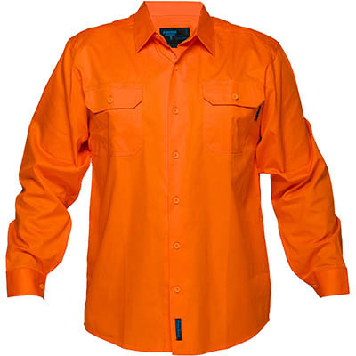 Image for PRIME MOVER MS301 HI-VIS LIGHTWEIGHT COTTON DRILL SHIRT LONG SLEEVE ORANGE from BusinessWorld Computer & Stationery Warehouse