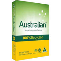 AUSTRALIAN A4 COPY PAPER 100% RECYCLED 80GSM WHITE 500 SHEETS