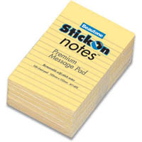 STICK ON NOTES MESSAGE PAD 100 SHEETS 102 X 52MM YELLOW PACK 6