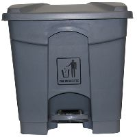 CLEANLINK RUBBISH BIN WITH PEDAL LID 45L GREY