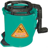 CLEANLINK MOP BUCKET HEAVY DUTY PLASTIC WRINGER 16 LITRE LIGHT GREEN