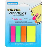 STICK ON CLEAR FLAGS WRITE ON 25 SHEETS 12 X 45MM ASSORTED PACK 100