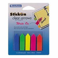 STICK ON ARROW FLAGS 25 SHEETS 12 X 45MM ASSORTED PACK 5