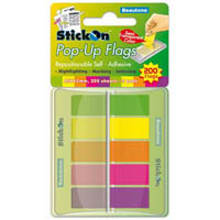 STICK ON POP UP FLAGS 40 SHEETS 45 X 12MM ASSORTED PACK 5