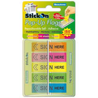 STICK ON POP UP SIGN HERE FLAGS 30 SHEETS 45 X 12MM ASSORTED PACK 5