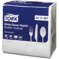 TORK QUILTED EMBOSS DINNER NAPKIN 2 PLY 390 X 390MM WHITE PACK 75