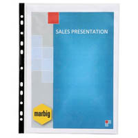 MARBIG SHEET PROTECTORS BLACK EDGE A4 BOX 100