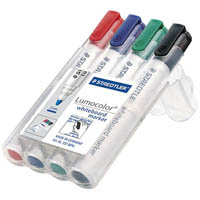 STAEDTLER 351 LUMOCOLOR WHITEBOARD MARKER CHISEL POINT ASSORTED WALLET 4