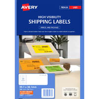 AVERY 35977 L7163FO HIGH VISIBILITY SHIPPING LABEL LASER 14UP FLUORO ORANGE PACK 25