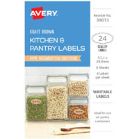 AVERY 39013 LABELS MULTI USE REMOVABLE OVAL 57.1 X 28.6MM KRAFT BROWN WITH BLACK BORDER PACK 24