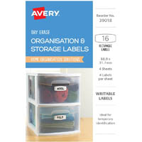 AVERY 39018 LABELS ERASE DRY REMOVABLE 88.9 X 31.7MM WHITE WITH BLUE DETAILS PACK 16