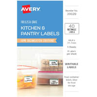 AVERY 39020 LABELS CONTAINER REMOVABLE 44.4 X 31.7MM WHITE WITH BLUE DETAILS PACK 40
