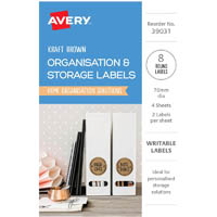 AVERY 39031 ORGANISATION AND STOREAGE LABELS CIRCLE KRAFT BROWN PACK 8
