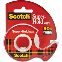 SCOTCH 198 SUPER HOLD TAPE AND DISPENSER 19MM X 16.5M
