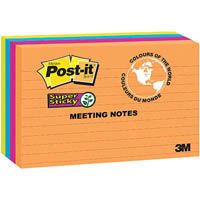POST-IT 5845-SSUC SUPER STICKY RULED MEETING NOTES 123 X 200MM ASSORTED RIO DE JANEIRO PACK 4