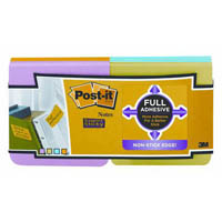 POST-IT F33012SSAU SUPER STICKY FULL ADHESIVE NOTES 76 X 76MM ULTRA COLOUR PACK 12