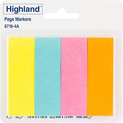 image for highland pagemarkers 50 sheets per pad yellow blue pink orange pack