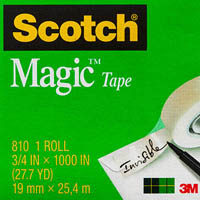 SCOTCH 810 MAGIC TAPE MULTI PACK 19MM X 25M PACK 4