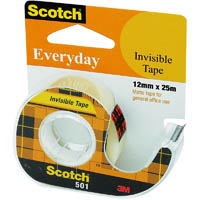 SCOTCH 501 EVERYDAY INVISIBLE TAPE ON DISPENSER 12MM X 25M