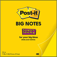 POST-IT BN11 SUPER STICKY BIG NOTE 279 X 279MM YELLOW 30 SHEETS