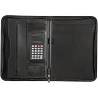 SPIRAX SLIMLINE ZIPPERED COMPENDIUM A4 BLACK