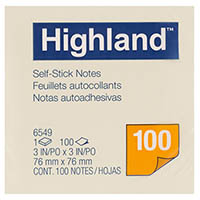 HIGHLAND NOTES 100 SHEETS PER PAD 76 X 76MM YELLOW