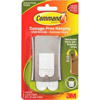 COMMAND ADHESIVE STICKY NAIL PICTURE HANGER WIRE-BACKED METAL PACK 1 HANGER, 4 STRIPS AND 2 STABILIZER STRIPS