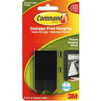 COMMAND PICTURE HANGING STRIPS MEDIUM BLACK PACK 4 PAIRS